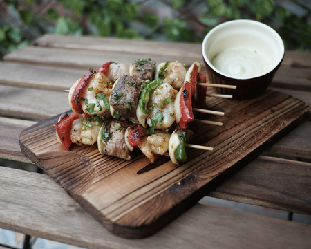 Small surf and turf skewers
