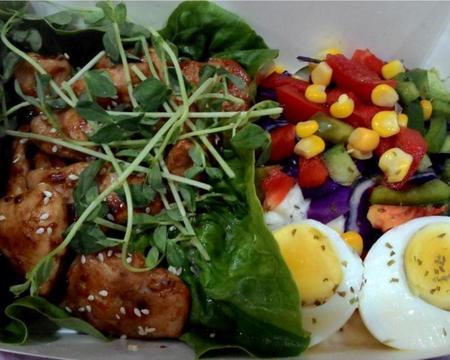 Small d10.teriyaki chicken  served with mashed potato  egg   salad